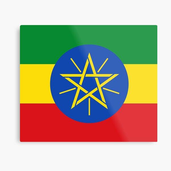 Ethiopia Flag - Ethiopian Sticker Metal Print