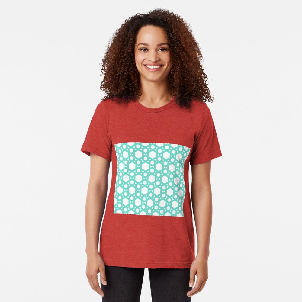 Geometric Pattern: Hexagon: Blue Tri-blend T-Shirt