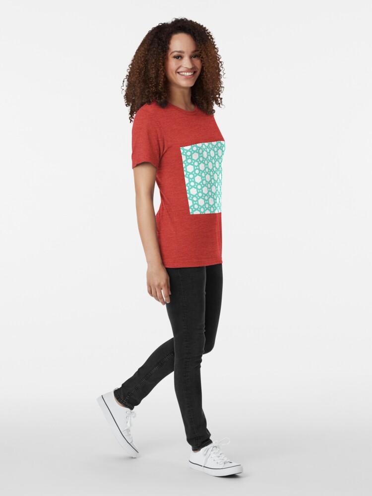 Alternate view of Geometric Pattern: Hexagon: Blue Tri-blend T-Shirt