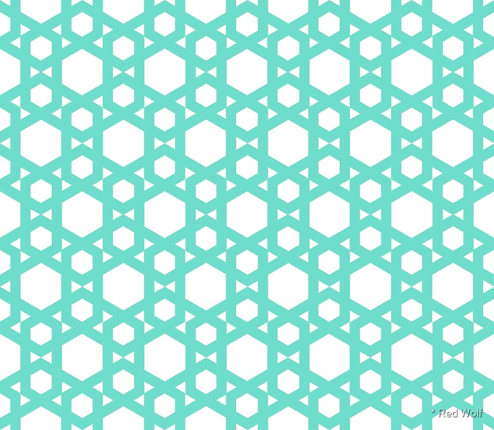 Geometric Pattern: Hexagon: Blue by * Red Wolf