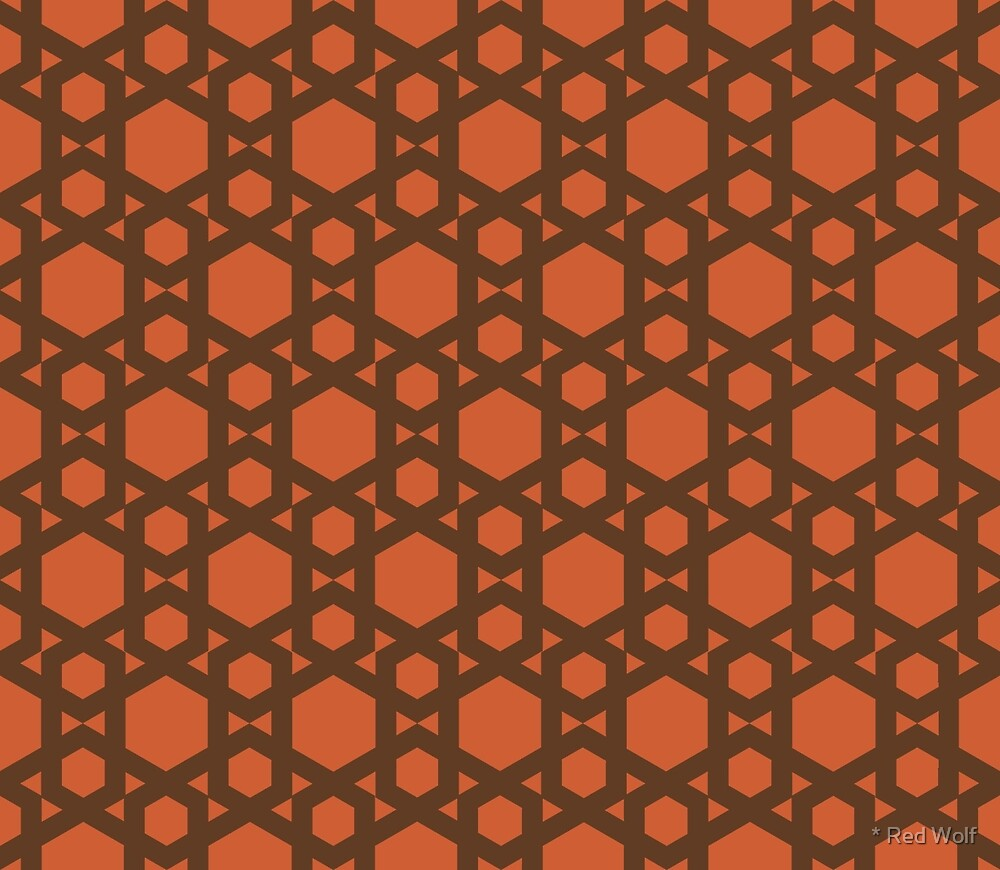 Geometric Pattern: Hexagon: Orange by * Red Wolf