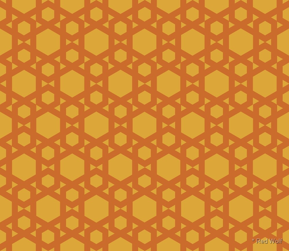 Geometric Pattern: Hexagon: Yellow by * Red Wolf