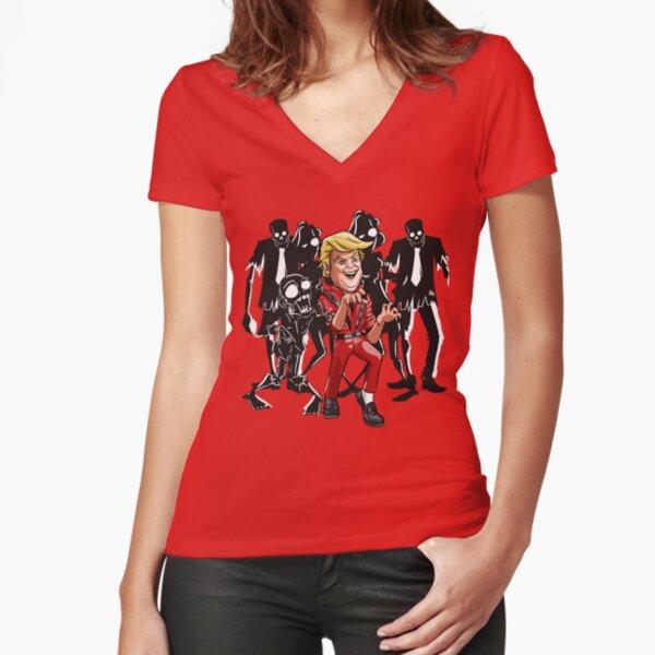 Trump Halloween Thriller Fitted V-Neck T-Shirt