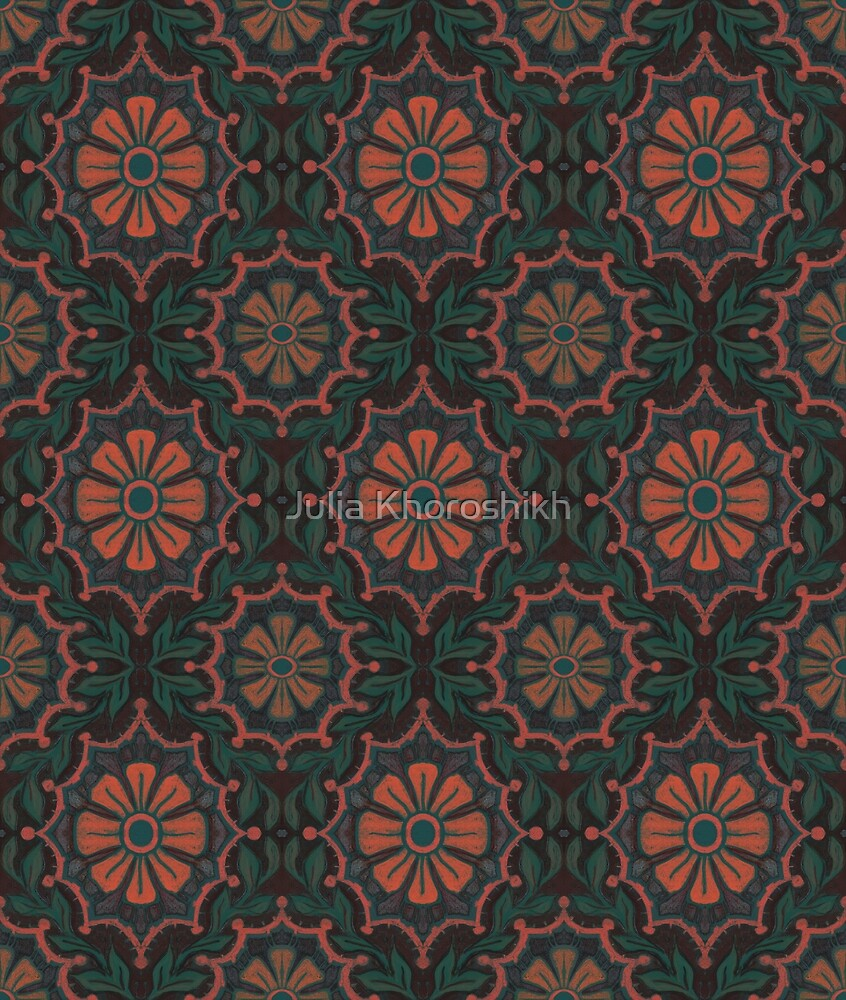Folk flower, floral pattern, orange, green and black by clipsocallipso