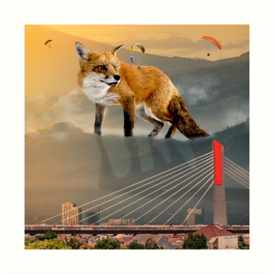 giant fox art prints by likescurving redbubble