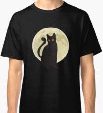 Spooky Halloween Black Cat Under the Moonlight Art Graphics Design Classic T-Shirt