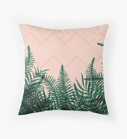 Tropical Ferns on Pink #redbubble #decor #buyart Throw Pillow