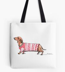 Dackel in Pullover Tote Bag