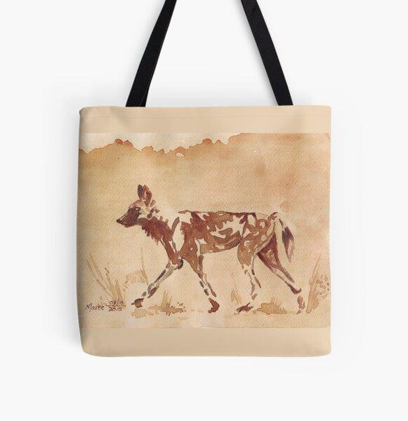 Gemalter Hund - Afrikanischer Wildhund Allover-Print Tote Bag