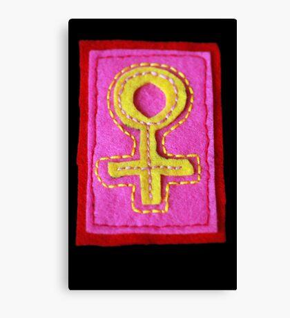 Hand-Embroidered Venus Symbol Canvas Print