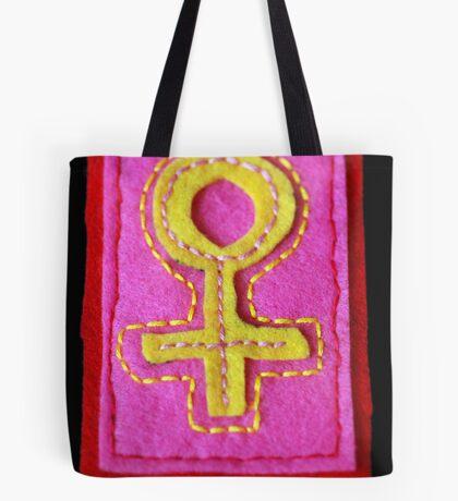 Hand-Embroidered Venus Symbol Tote Bag