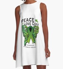 Peace Love Cure Support Muscular Dystrophy Awareness  A-Line Dress
