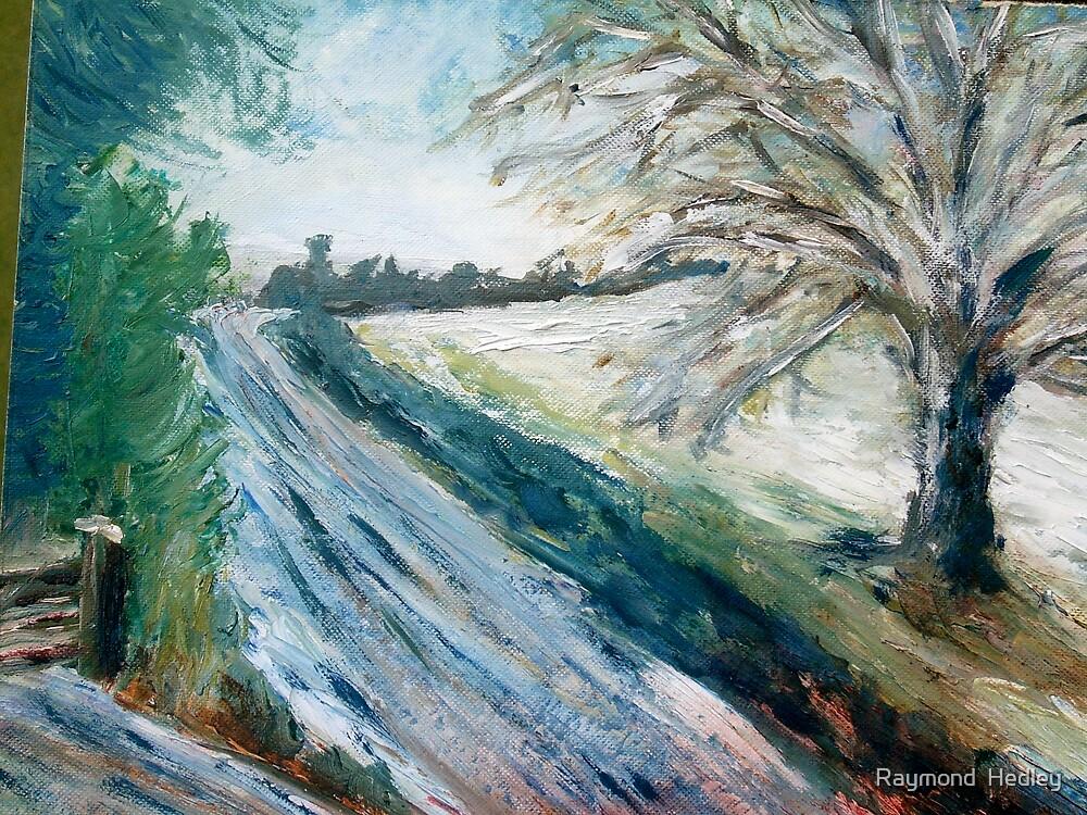 Winter Lane in Kent by Raymond  Hedley