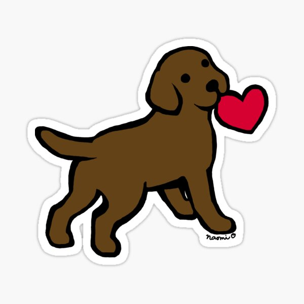 Chocolate Labrador Puppy with a Little Heart Sticker