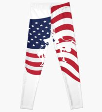 American Flag Love Wrestle Wrestling  Leggings