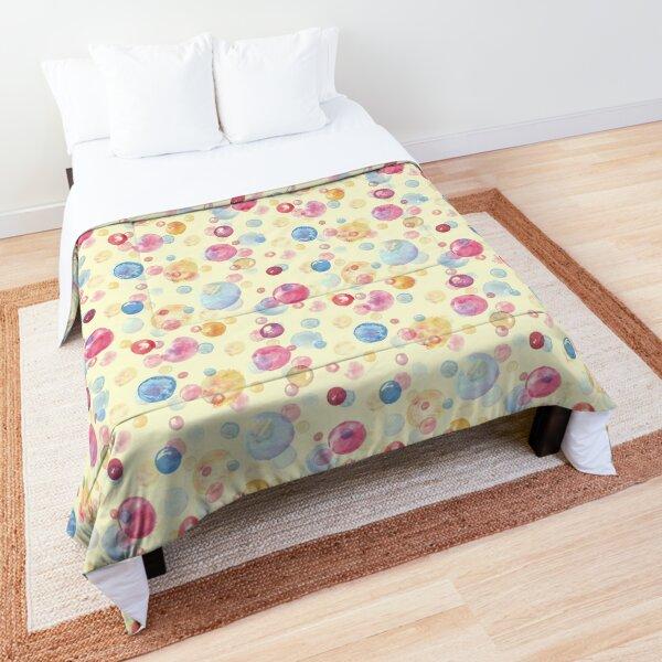Colorful Watercolors Polka Dots Comforter