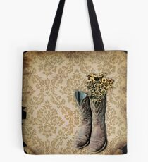 primitive Wildflower brown damask western country cowboy boots Tote Bag