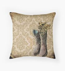 primitive Wildflower brown damask western country cowboy boots Throw Pillow