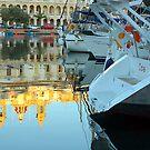 Boats By The Church by Xandru