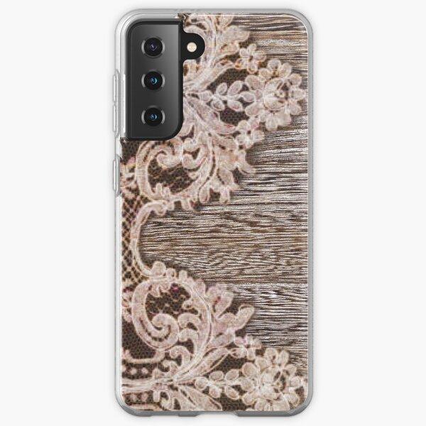rustic Western Country Farmhouse Chic Barn Wood Lace Samsung Galaxy Soft Case