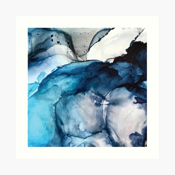 White Sand Blue Sea - alcohol ink painting Art Print