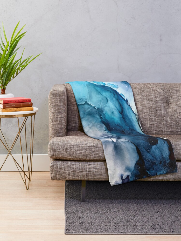 Alternate view of White Sand Blue Sea - alcohol ink painting Throw Blanket