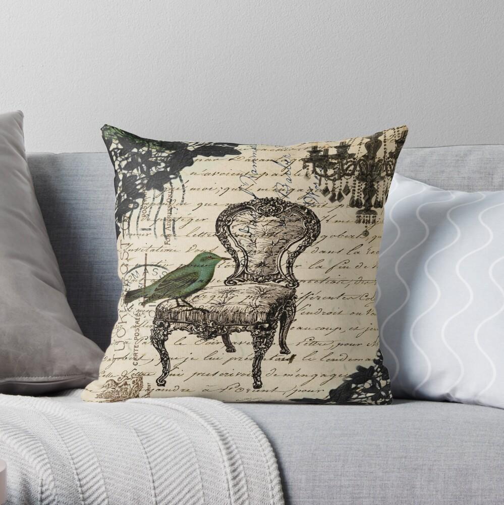 Shabby Chic Vintage Vogel Skripte französischen Stuhl Kronleuchter Dekokissen