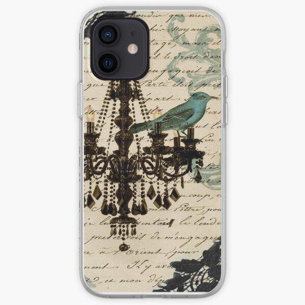 vintage bird lace french scripts chandelier paris iPhone Soft Case