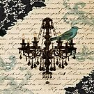 vintage bird lace french scripts chandelier paris by lfang77