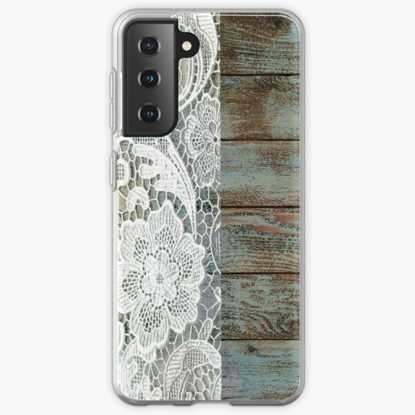 Western Country distressed blue Barn Wood white Lace Samsung Galaxy Soft Case