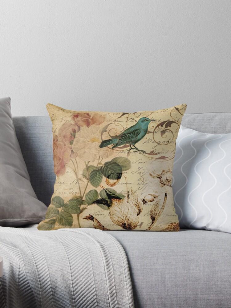 modern vintage rose bird paris french botanical art by lfang77