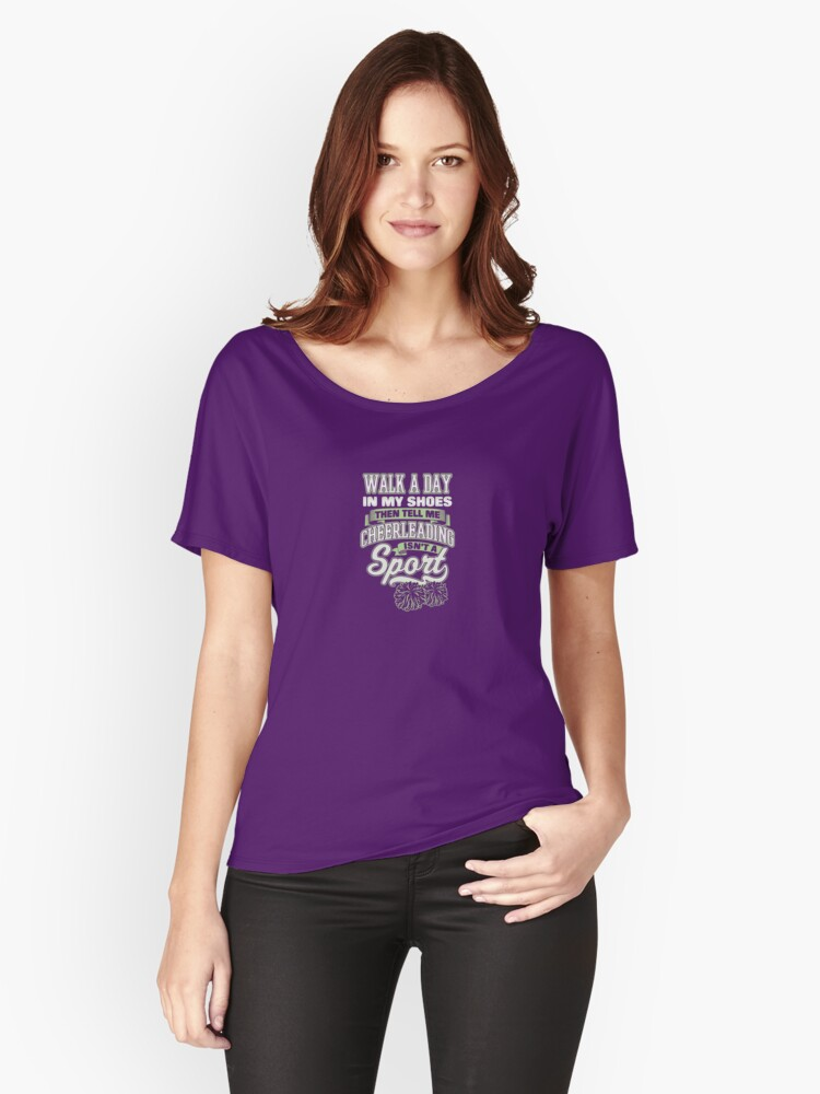 Tell me cheerleading isn't a sport Women's Relaxed Fit T-Shirt Front