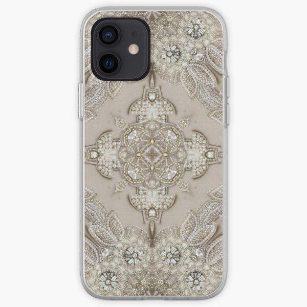 vintage Rhinestone pearl glamorous beige  lace iPhone Soft Case