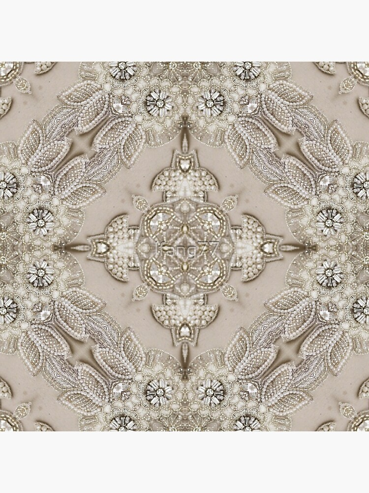 vintage Rhinestone pearl glamorous beige  lace by lfang77