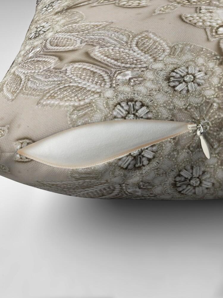 Alternate view of vintage Rhinestone pearl glamorous beige  lace Throw Pillow
