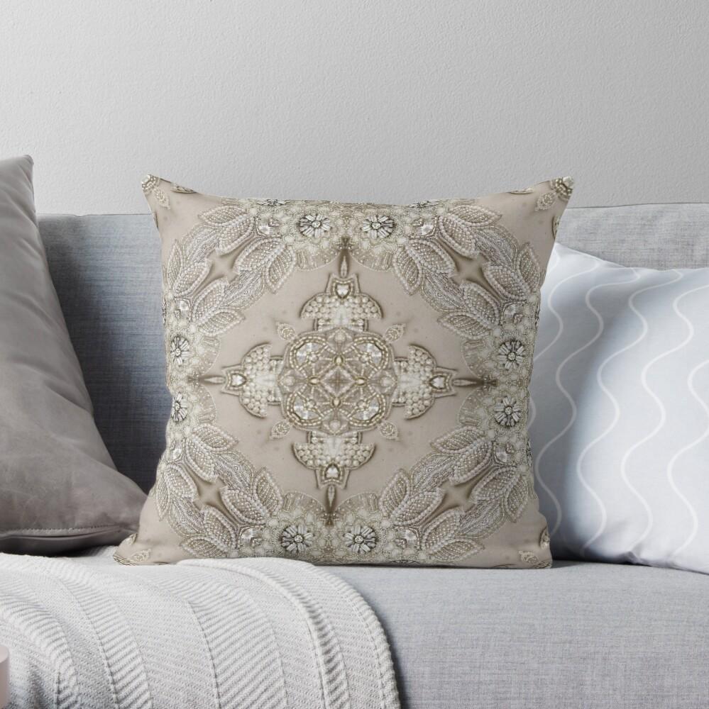 vintage Rhinestone pearl glamorous beige  lace Throw Pillow
