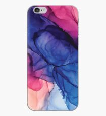 Pondering- Blush and Blue- Alcohol ink painting iPhone Case