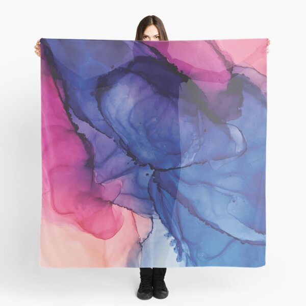 Pondering- Blush and Blue- Alcohol ink painting Scarf