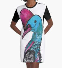 Colourful Cassowary Graphic T-Shirt Dress