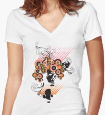 Funky Dollie Bloom Hair Women's Fitted V-Neck T-Shirt