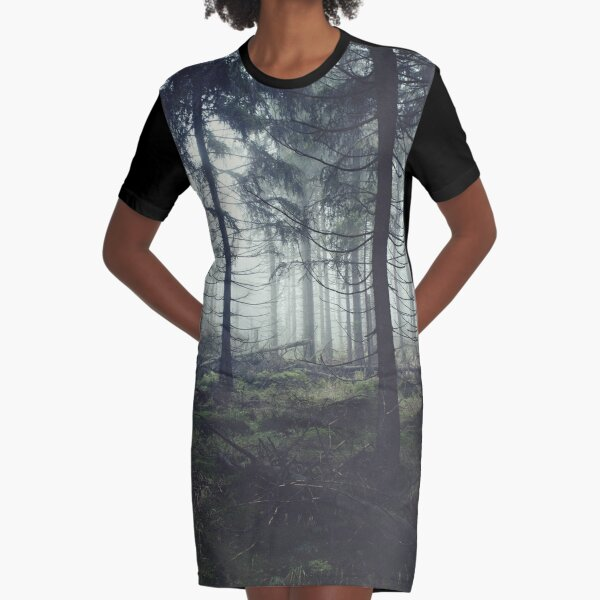 Through The Trees Graphic T-Shirt Dress