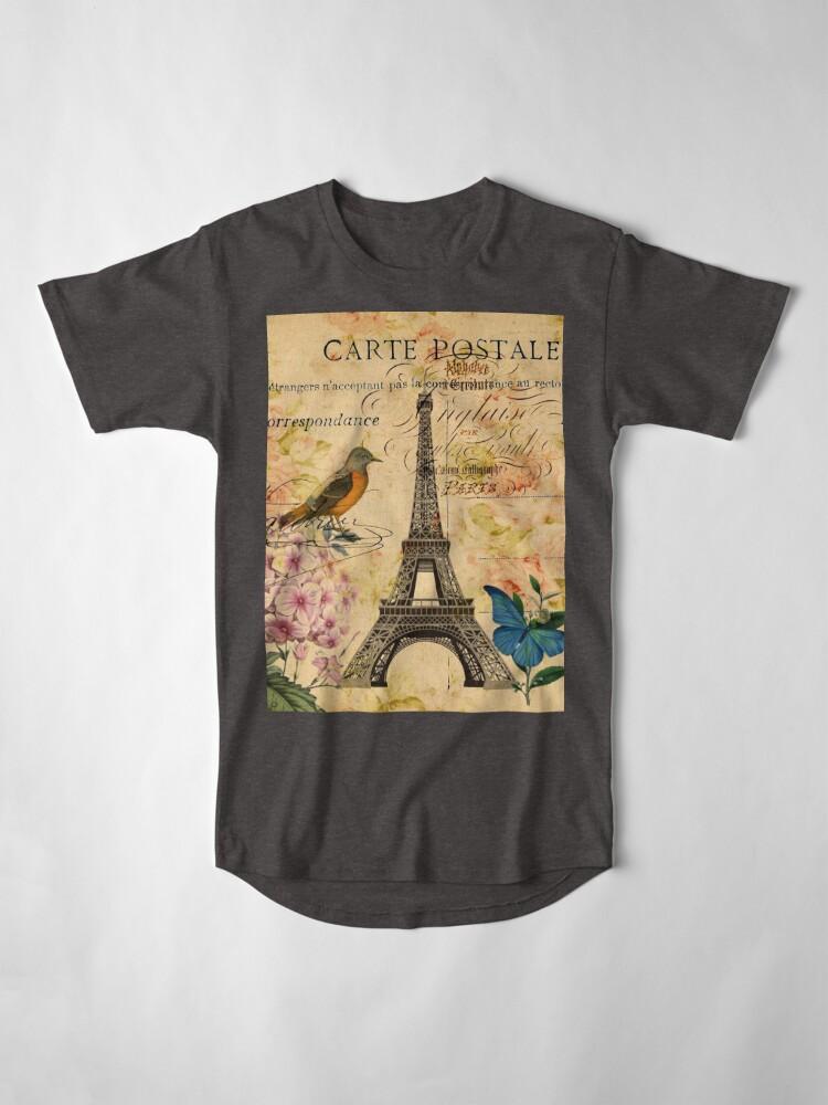 Alternative Ansicht von Vogel-Schmetterlingsmode des Vintagen Eiffelturms Blumen Longshirt