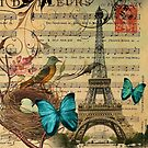 vintage bird nest paris eiffel tower botanical art by lfang77