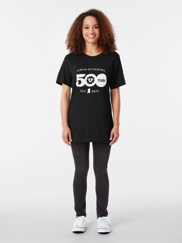 Alternate view of Semper Reformanda 500 Years Reformation Luther Rose Slim Fit T-Shirt