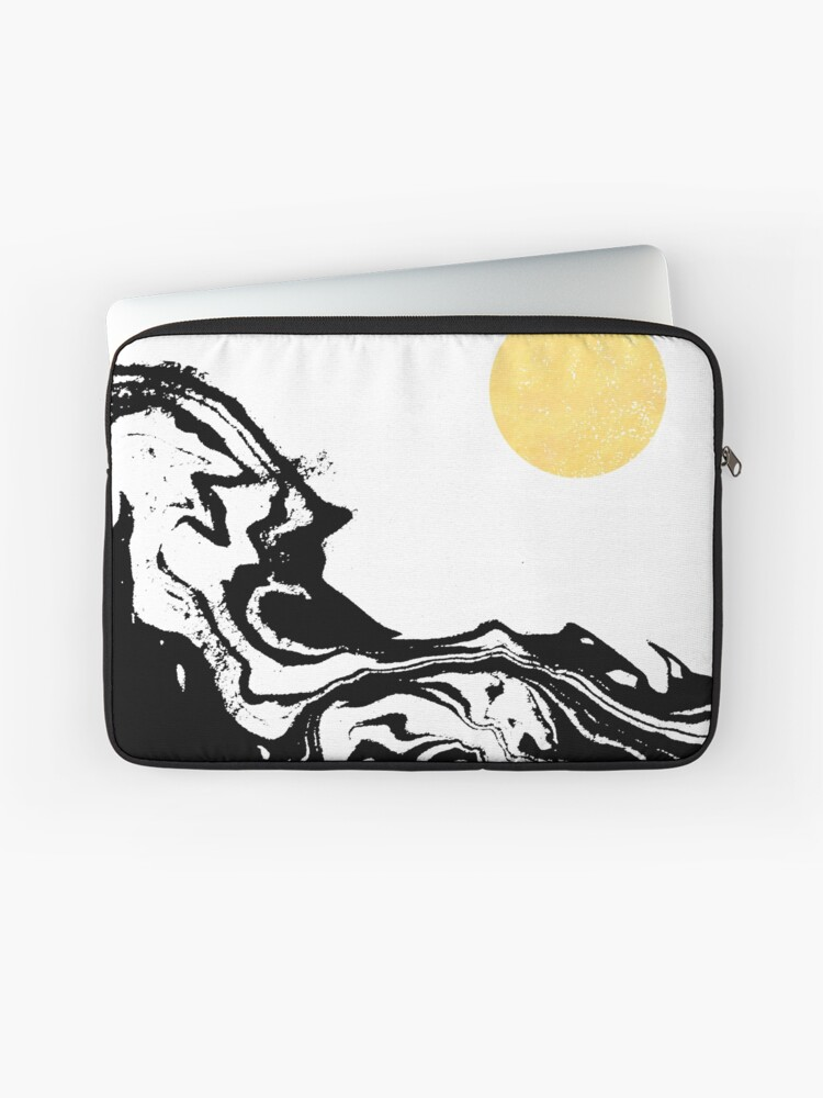 Seffi - abstract ink sun ocean sea water wave minimalist black and white  with gold | Laptop Sleeve
