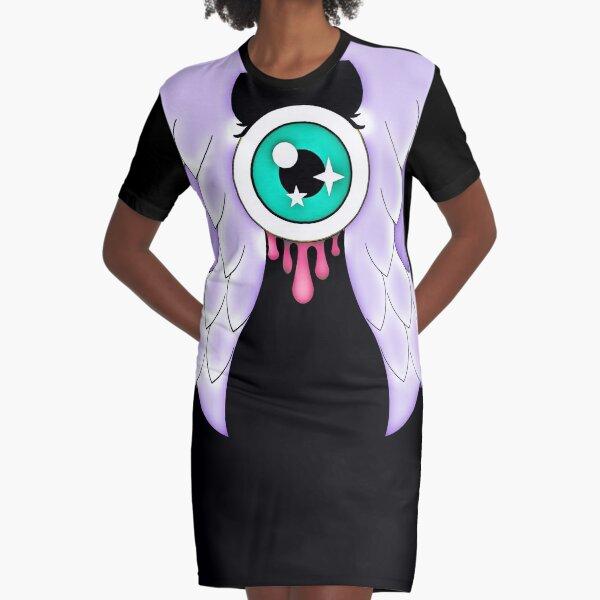 Pastel Goth | Winged Eye | Black Graphic T-Shirt Dress