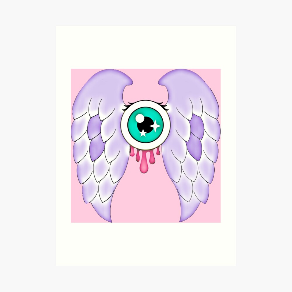 Pastel Goth   Winged Eye   Pink Art Print