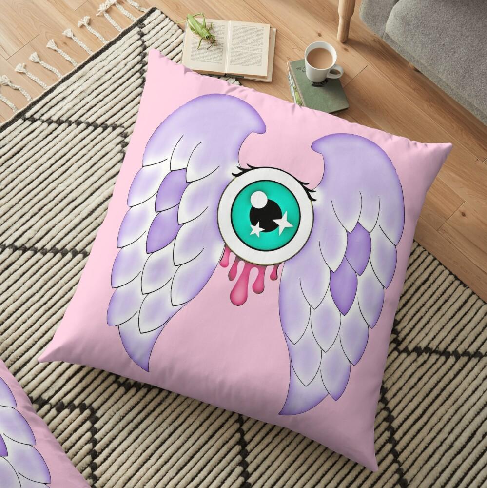 Pastel Goth | Winged Eye | Pink Floor Pillow