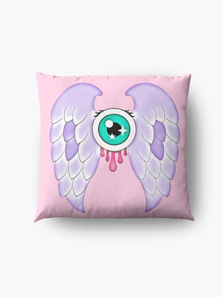 Alternate view of Pastel Goth | Winged Eye | Pink Floor Pillow