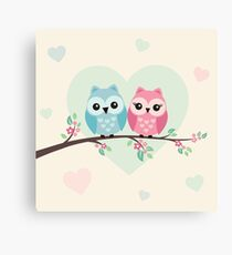 Cute owls on a branch - for kids Canvas Print